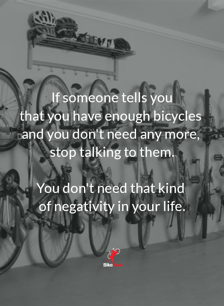 Go buy a bike this weekend. We said it's okay. If someone tells you that you…
