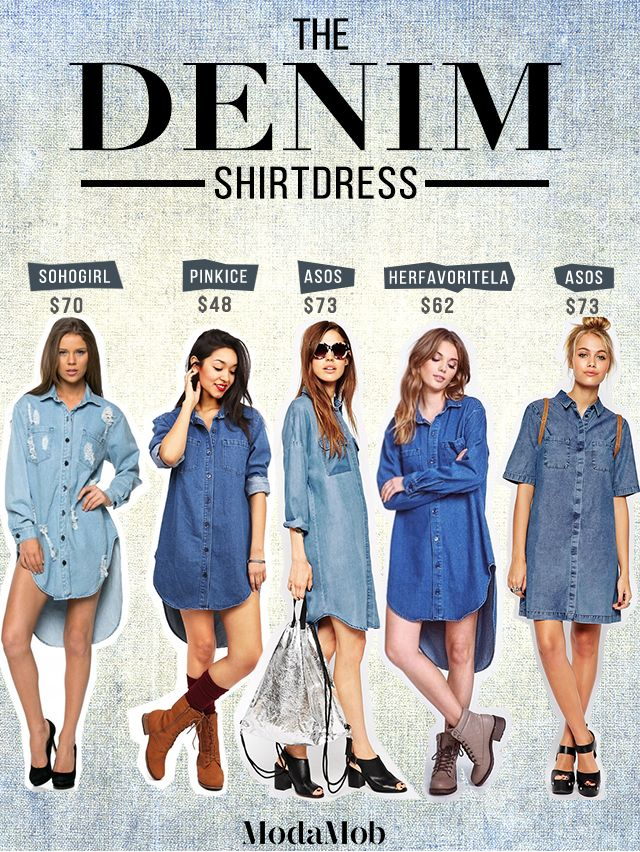 The denim boyfriend shirt dress is a must have for the lazy girl - easy to throw on and works with literally every accessory and look!