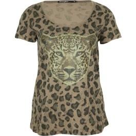 tee shirt, manches courtes, col rond, camouflage et print guépard