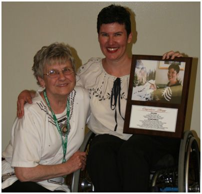 Mrs. Lawlor and Caprice at St. Joseph's School -Wall of Fame Award. 2011