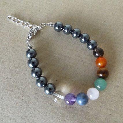Chakra Bracelet  gemstone beads adjustable by WellnessMerchant
