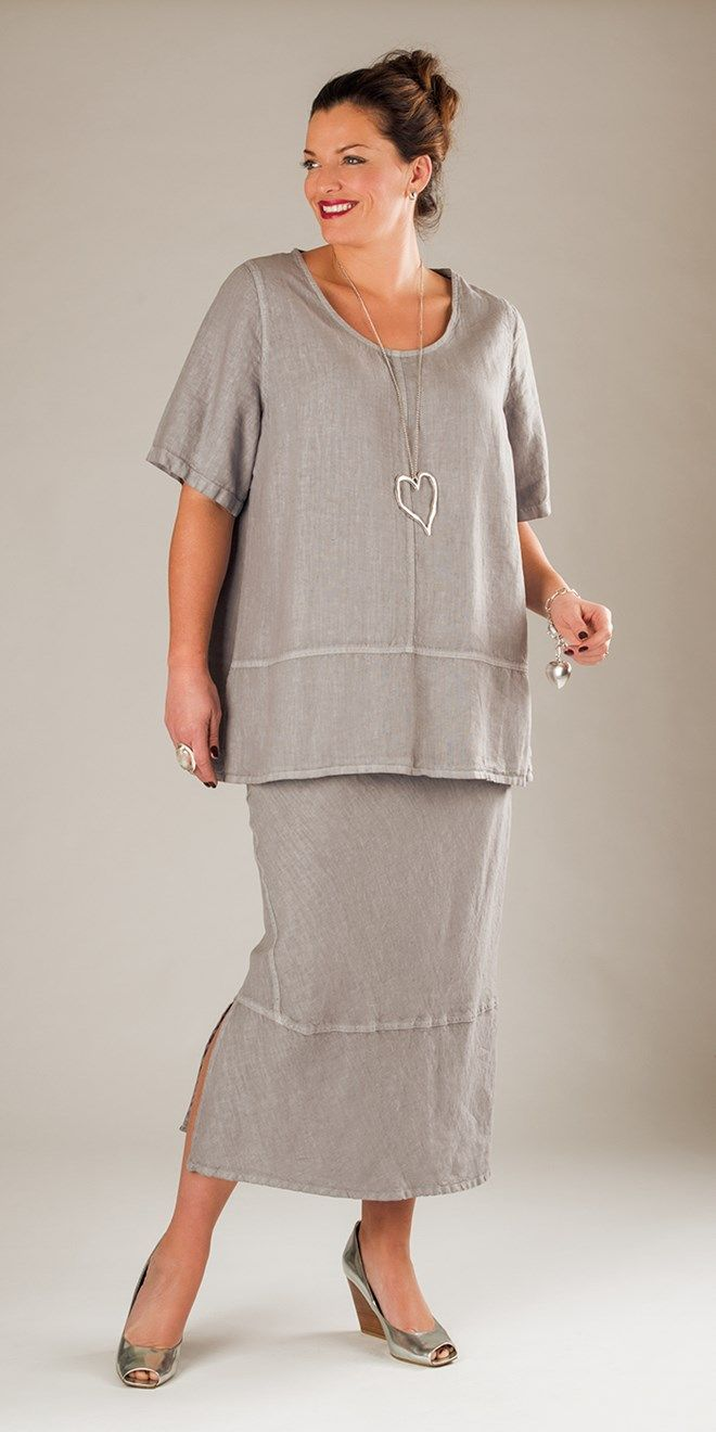 Belladonna silver linen scoop neck top and skirt at Box 2