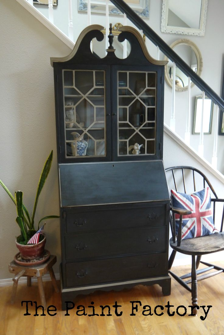Antique Secretary painted with Graphite and French Linen Chalk Paint and dark wax. By Diane https://www.facebook.com/ThePaintFactory
