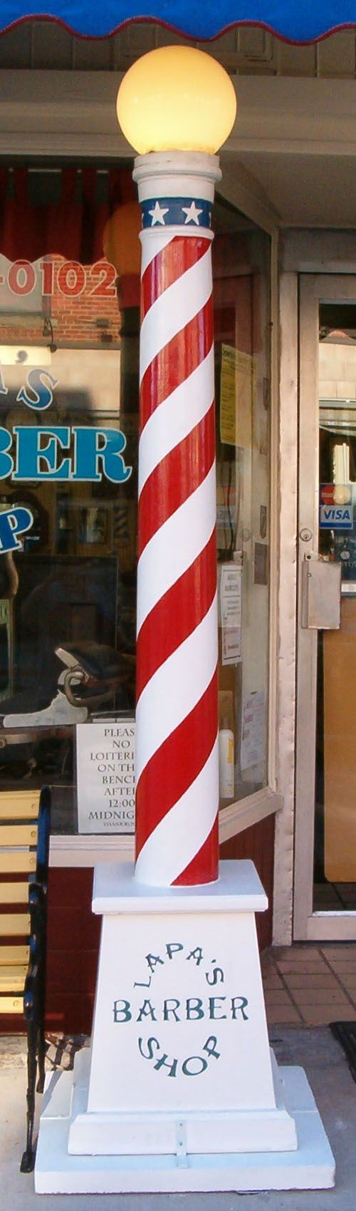 Barber shop ideas - The Unique Lighted Pole On The Sidewalk Outside Lapa S Barber Shop At 232 S Broad Street