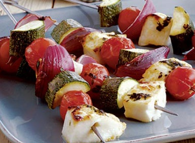 Halloumi Kebabs with Thyme and Lemon Baste - healthy BBQ - Barbeque recipe ideas - skewers - party food - casual event food