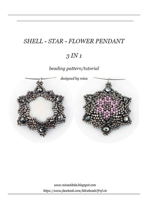 Shell-Star-Flower 3 in 1 Pendant Beading by micabead on