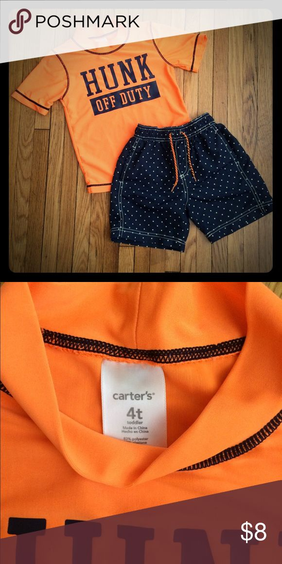 Carter's rash guard & swim trunks Great swim outfit to protect your son from the sun ☀️ and look cute on the beach. Some signs of wear but still has A lot of life left. Carter's Swim