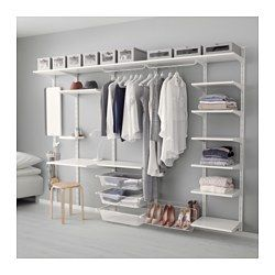 ALGOT, Wall upright, shelf and triple hook, white