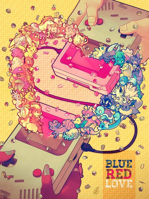 """""""Blue Red Love"""" ⊟ Shout-outs to all the Game Boys, Link Cables,..."""