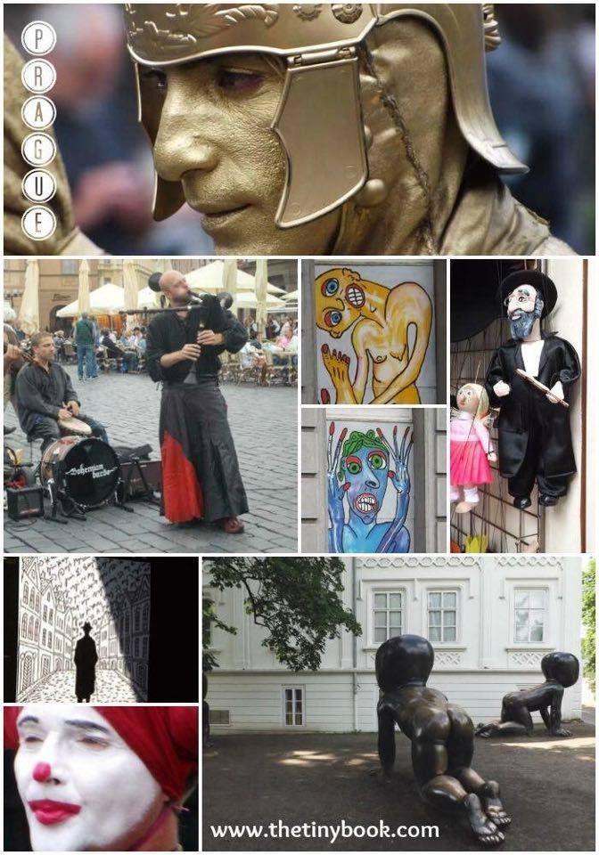 Street art in Prague, paintings, statues, sculptures