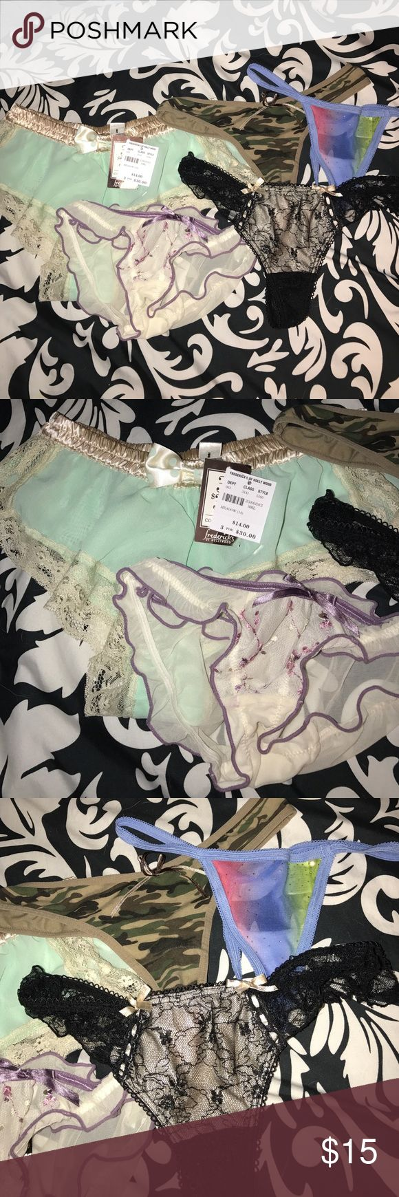 💋 Panty Set 💋 • 5 Panty Set. Never worn-Brand New. 3 Thongs & 2 Cheeky Panties. ( Green Sheer Panties are from Frederick's of Holly Wood & still has tags. Original Price $14)  Size : Smalls. 💌 Ask all questions prior to purchasing. 🛍 Bundles encouraged for discounts. 📦 Fast Shipment. 🎉Happy Shopping🎉 Intimates & Sleepwear Panties
