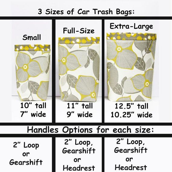 Got trash? These trash bags can handle it. Professionally crafted by a husband and wife team in our home workshop. These car trash bags make great gifts and are completely customizable for any car or truck. If you dont see a size or handle that will work for your vehicle, please dont hesitate to ask. Some of our best changes have some from customer requests! Our CAR TRASH BAGS come in 3 sizes with 3 different handles and 2 different linings. Our multiple sizes are designed to accommodate…