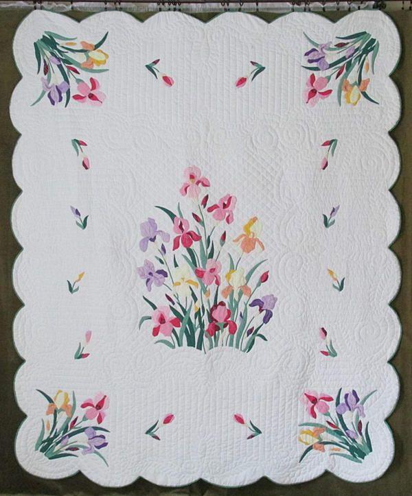 Fabulous Vintage Garden Of Iris Applique Quilt 88 Quot X 73