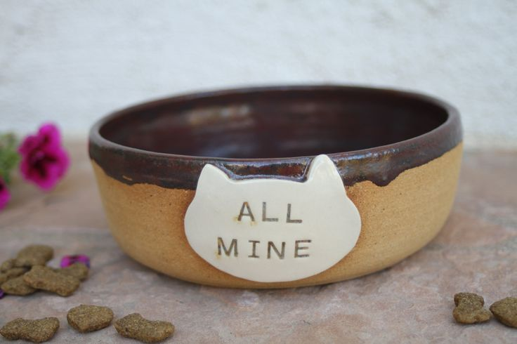 Cat Bowl ceramic cat food dish modern pet dish cats food bowl gift for cat lover by ManuelaMarinoCeramic on Etsy