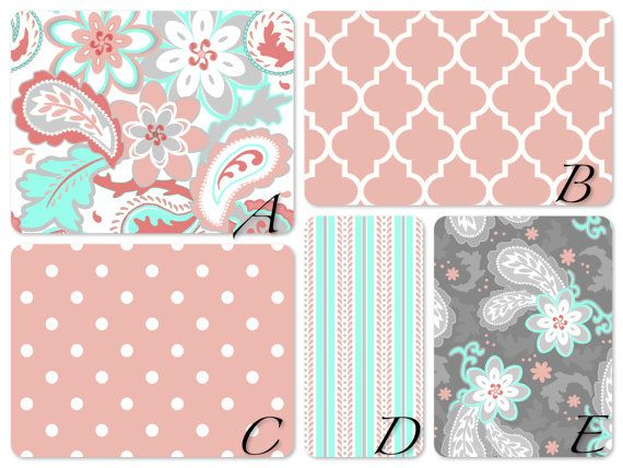 Bumperless coral mint aqua and gray crib set in designer for Grey nursery fabric