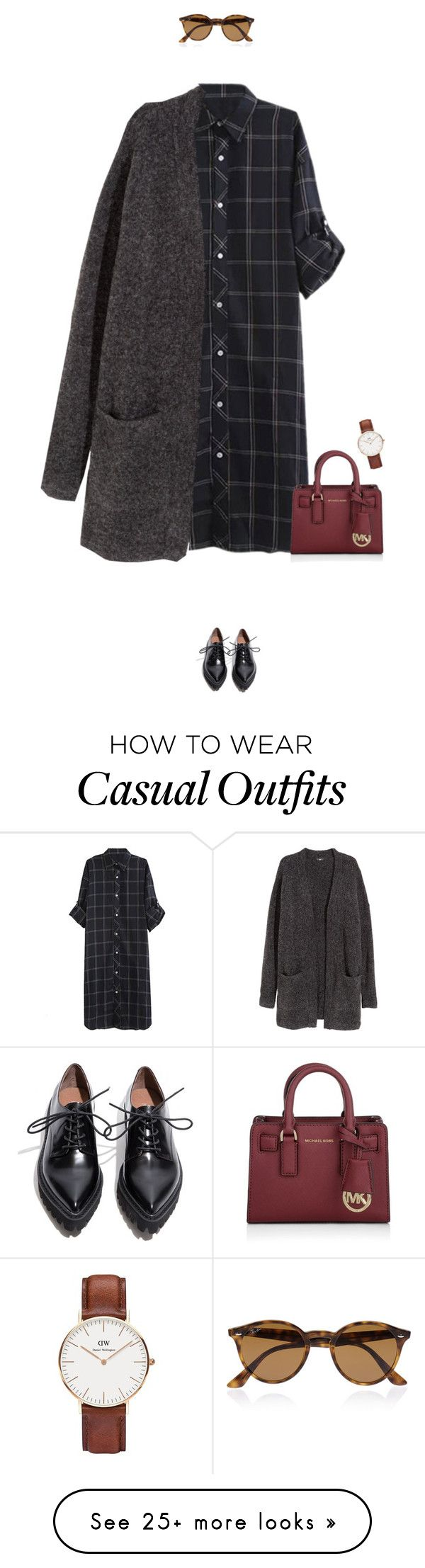 """Super casual day outfit !"" by azzra on Polyvore featuring H&M, Michael Kors, Jeffrey Campbell, Daniel Wellington, Ray-Ban, women's clothing, women's fashion, women, female and woman"