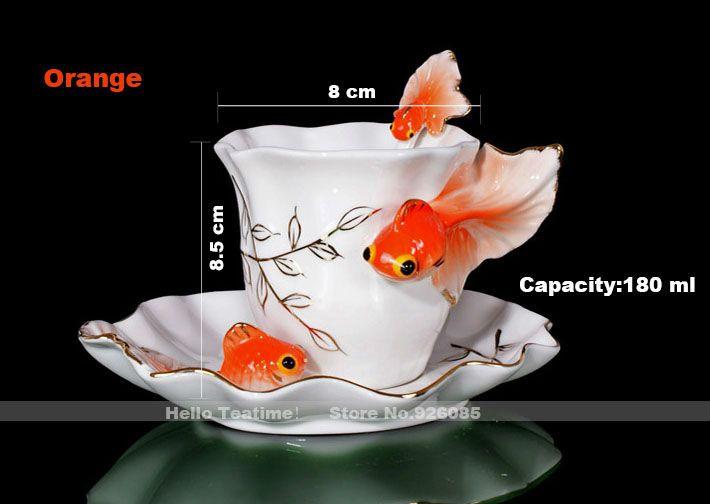 Купить товарМода эмаль золотая рыбка чашка кофе комплект, керамические свадебные подарки чашки чая комплект, китайский молоко кружки в категории Чайные и кофейные сервизына AliExpress.                   Для друзей из                           Бразилия,                  Пожалуйста, предоставьте нам