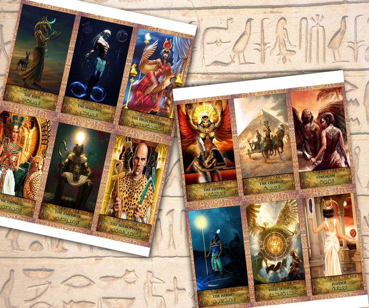 tarot cards ancient egyptian printable anubis digital art