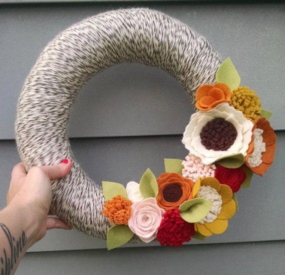 Fall wreath, yarn wreath, wildflower wreath, year round wreath, wool felt flower wreath,autumn wreath,home decor, fall decor, wedding decor