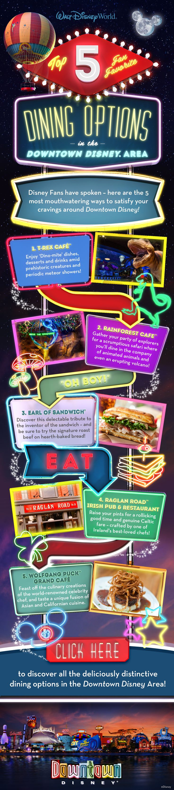 Top 5 Fan Favorites! Dining Options in the Downtown Disney Area at Walt Disney World! #vacation #food #tips #tricks