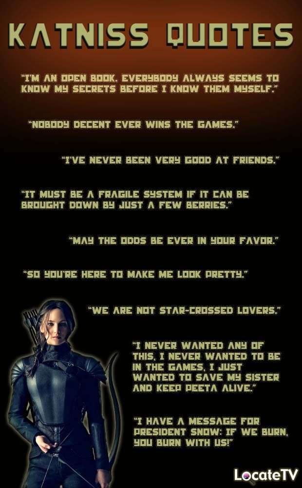 To celebrate the release of The Hunger Games: Mockingjay - Part 1, we have compiled our fav Katniss quotes. Do you have any Everdeen sayings that we've missed? http://www.locatetv.com/movie/hunger-games-mockingjay-part-1/8644420