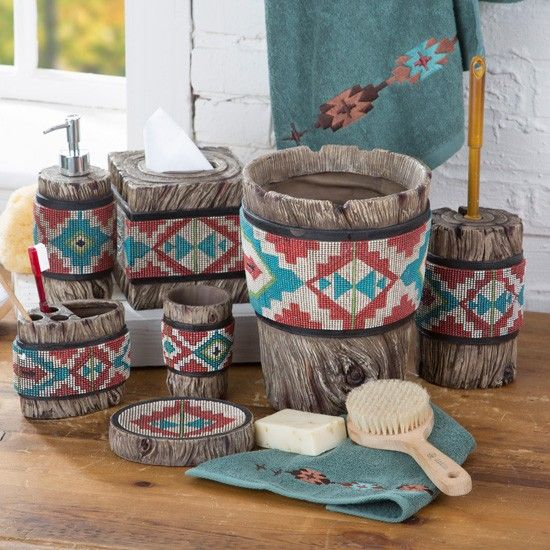 This Bathroom Collection Features An Aztec Print In Turquoise Cream C And Green With A Textured Beaded Look Decorating Your Western Style