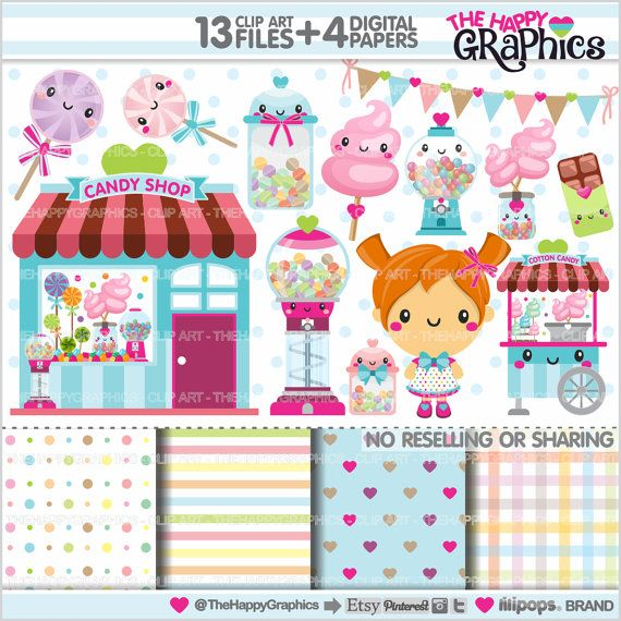 Candy Shop Clipart, Candy Graphics, COMMERCIAL USE, Kawaii Clipart, Candy Shop Graphics, Candy Clipart, Planner Accessories, Sweet Shop