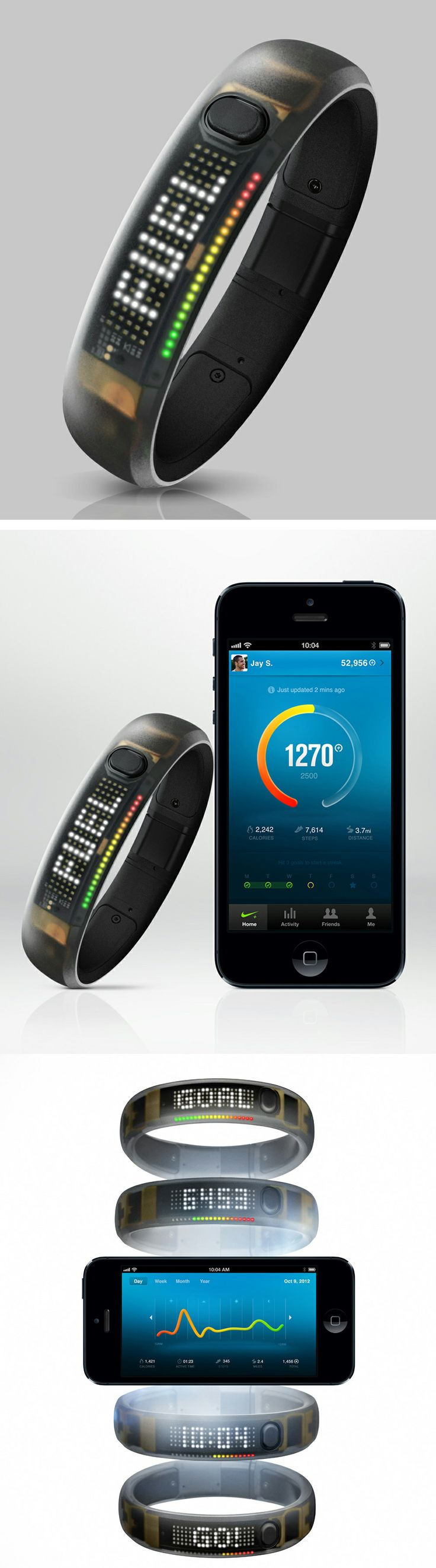 FuelBand - Bracelet that tracks your active life with NikeFuel— a universal way to measure movement for all kinds of activities. Set daily goal, get moving, and see your progress along the way. Download mobile app to sync wirelessly | $79