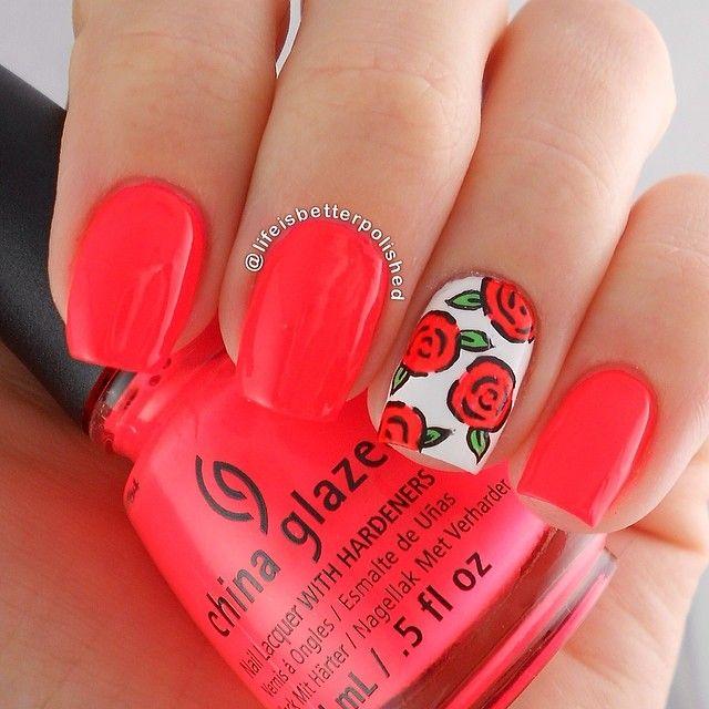 Neon Nails. Flowera Nail Art. Nail Design. Polish. China