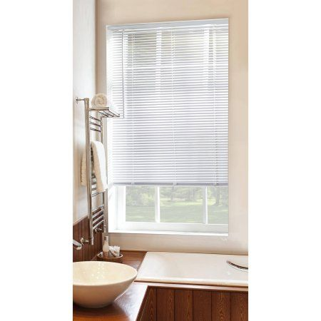 Mainstays Cordless 1 inch Vinyl Room Darkening Blinds, White, 58 inch x 64 inch