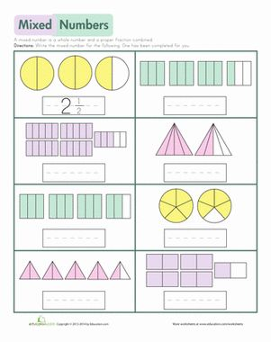 mixed numbers models number worksheets and children. Black Bedroom Furniture Sets. Home Design Ideas
