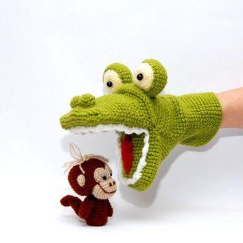 crochet alligator hand puppet and 3 monkeys finger puppets, amigurumi animals…
