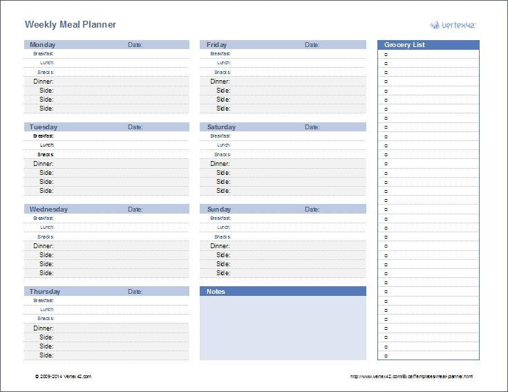 Meal Planner Template Weekly Menu Planner Regarding Monthly Meal Planner Template Exc Meal Planner Template Weekly Menu Planners Weekly Meal Planner Template
