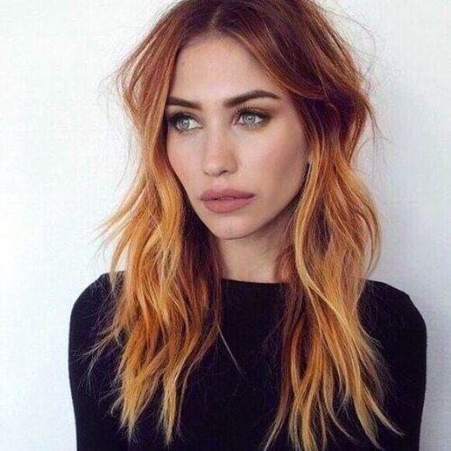 Kupfer Balayage Haarfarbe
