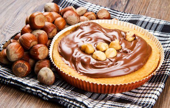 Обои пирог, шоколад, крем, орехи, лесные картинки на рабочий стол, раздел еда - скачать