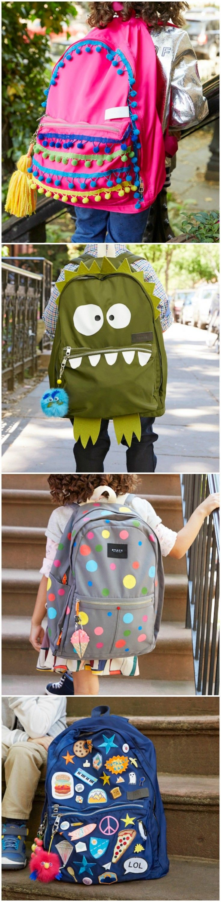 Why buy a new backpack - when you can get creative and makeover the one you already have? Kids will LOVE these unique ideas for personalized backpacks! via @diy_candy
