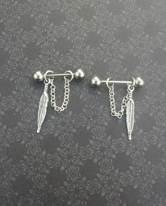 Feathers and Chain 14G Barbell SET OF 2 by SubtleDistinctions, $14.00