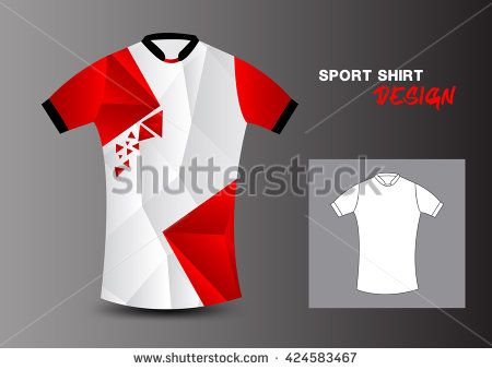 Red and white sport shirt design polygon vector illustration