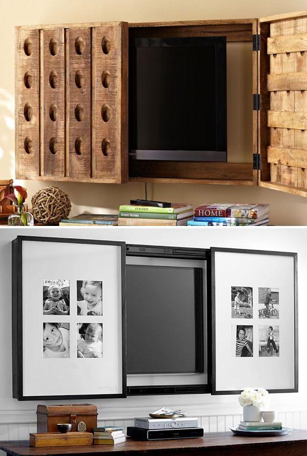 """Dependendo do tamanho, a televisão pode """"pesar"""" ou prejudicar a decoração. Pensando nisso, separamos 5 jeitos de esconder a TV"""