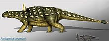 """Aletopelta coombsi /əˌliːtɵˈpɛltə ˈkoʊmzi/ was an ankylosaurian ornithischian dinosaur whose fossils were found in Southern California. Etymologically, the generic name is composed of the Greek terms aletes and pelte, meaning, respectively """"wandering"""" and """"shield"""". This genus name was suggested by Ben Creisler because the fossil location, at the time the dinosaur died, being located on the tectonic plate containing the Peninsular Ranges Terrane, was somewhere opposite the middle of Mexico."""