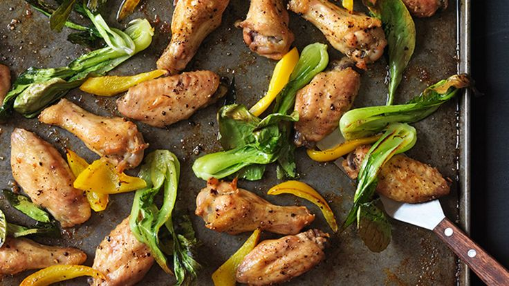 Salt-and-Pepper Chicken Wings with Bok Choy and Peppers ...