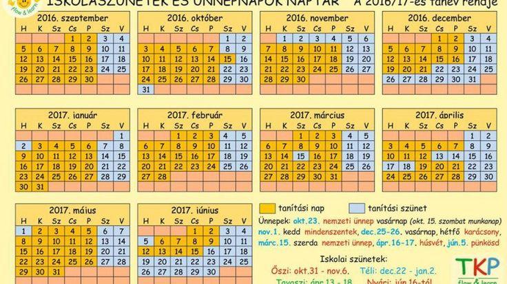 iskolai naptár 2016-2017 tanév - menetrend