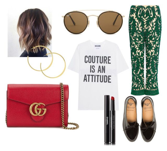 """Untitled #53"" by manjap on Polyvore featuring Ganni, Moschino, Ray-Ban, Chanel and Gucci"