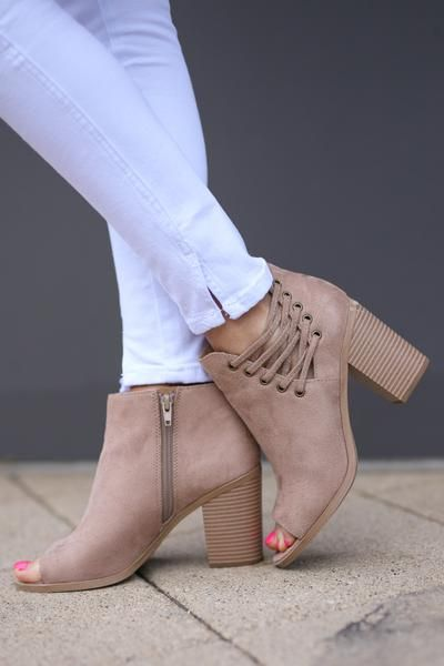 Just Having Fun Booties - Taupe vegan suede peep-toe criss cross booties, side, Closet Candy Boutique
