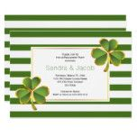 Green clover stripes wedding engagement party card