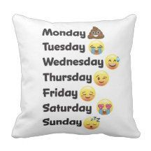 Day of the Week Emoji Face Pillow