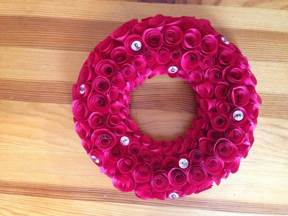 Rose Paper Wreath  hand made to order by Clairescraftyshop on Etsy