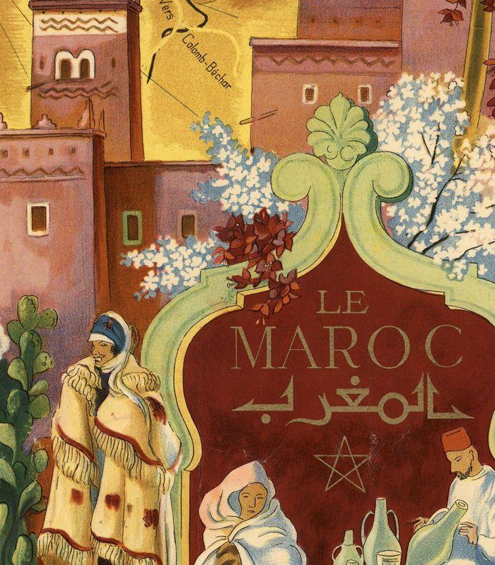 Old Map of Morocco Le Maroc Vintage