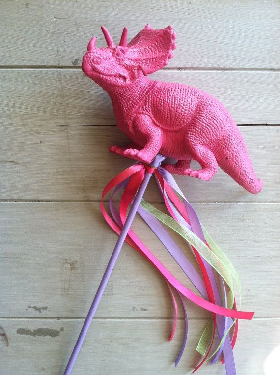 Dinosaur Party Favor and Ribbon Wand by EllaJaneCrafts on Etsy, $5.50