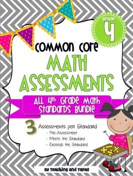 4th Grade Common Core Math Assessment - ALL STANDARDS $